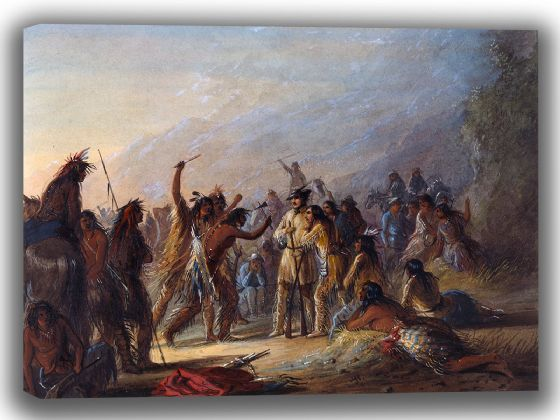 Miller, Alfred Jacob: Attack by Crow Indians. Fine Art Canvas. Sizes: A4/A3/A2/A1 (003821)